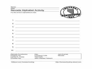 Nevada Alphabet Activity Worksheet
