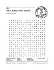 New Jersey Word Search Worksheet