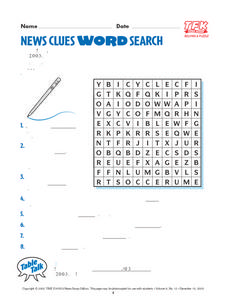 News Clues Word Search Lesson Plan