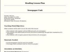 Newspaper Unit: Reading Lesson Plan Lesson Plan
