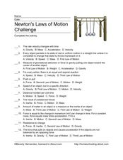 Newton Multiple Choice Activity Worksheet
