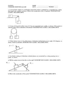 Newton's 2nd Law Worksheet