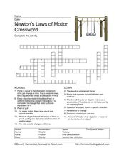 Newton's Laws of Motion Crossword Worksheet