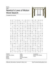 Newton's Laws of Motion Word Search Worksheet