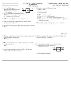 newton 39 s second law worksheet. Black Bedroom Furniture Sets. Home Design Ideas