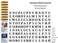Newton Word Search Worksheet
