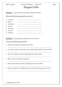 Niagara Falls, PodCards Worksheet Lesson Plan