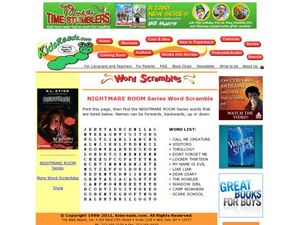 Nightmare Room Series Word Scramble Lesson Plan