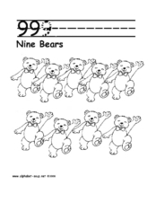 Nine Bears Printing and Counting Page Worksheet