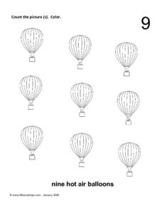 Nine Hot Air Balloons Worksheet