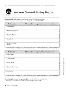 Nineteenth-Century Progress Worksheet
