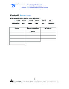 Noncount Nouns Worksheet