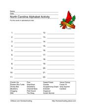 North Carolina Alphabet Activity Worksheet