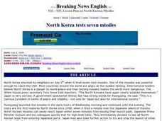 North Korea Tests Seven Missiles Worksheet