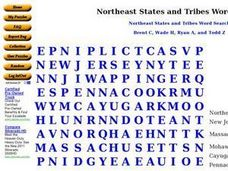 Northeast States and Tribes Word Search Worksheet