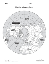 Northern Hemisphere Map Worksheet