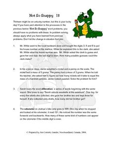 Not So Snappy 13- Word Problems Lesson Plan