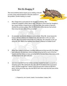 Not So Snappy 9  Word Problems Lesson Plan
