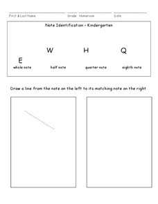 Note Identification Kindergarten Worksheet