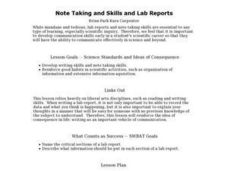 Note Taking And Skills And Lab Reports Lesson Plan