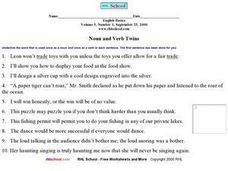 Noun and Verb Twins Worksheet