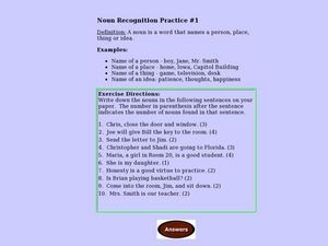 Noun Recognition Practice #1 Lesson Plan