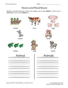Nouns and Plural Nouns Worksheet