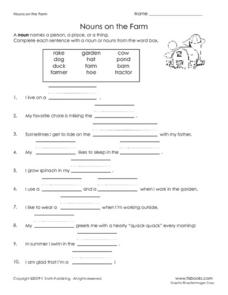 Nouns on the Farm Worksheet