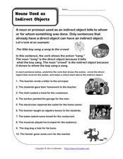 Nouns Used As Indirect Objects 3rd 6th Grade Worksheet
