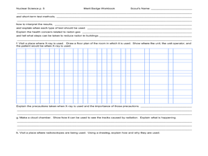 Nuclear Science: merit badge 5th - 12th Grade Worksheet   Lesson ...