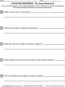 Nuclear Weapons - Do Some Research Worksheet
