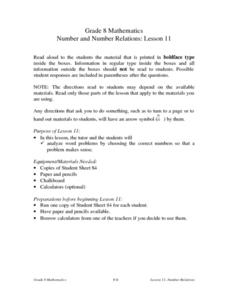Number and Number Relations: lesson 11 Lesson Plan