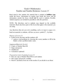 Number And Number Relations: Lesson 13 Word Problems Lesson Plan