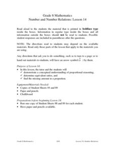 Number and Number Relations: Lesson 14 Lesson Plan