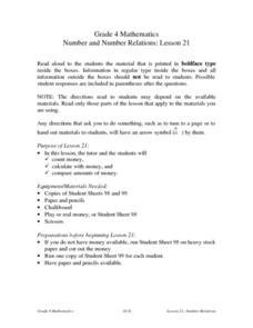 Number and Number Relations: Lesson 21 Lesson Plan