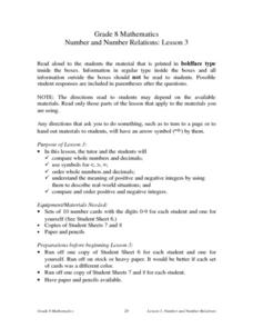 Number and Number Relations: Lesson 3 Lesson Plan
