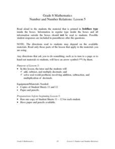 Number and Number Relations: Lesson 5 Lesson Plan