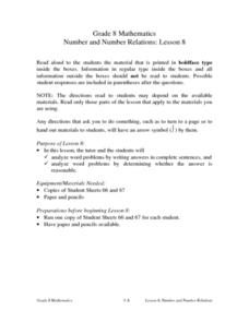 Number and Number Relations: Lesson 8 Lesson Plan