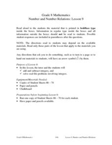 Number and Number Relations: Lesson 9 Lesson Plan