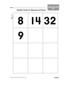 Number Cards for Regroup and Score Worksheet