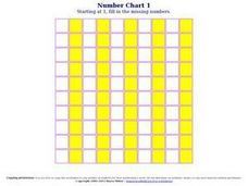 Number Chart 1 Worksheet
