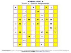 Number Chart 3 Worksheet