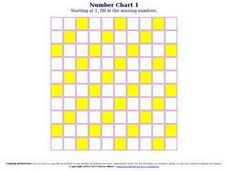 Number Chart 5 Worksheet