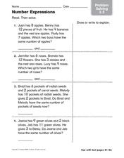 Number Expressions - Problem Solving Worksheet
