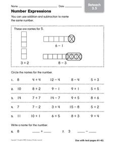 Number Expressions: Reteach Worksheet
