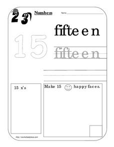 Number Fifteen 15 Worksheet