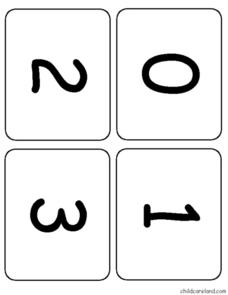Number Flash Cards Worksheet