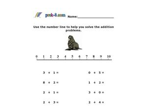 Number Line Addition Problems Worksheet