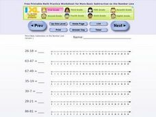 Number Line Subtraction Worksheet