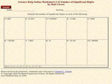 Number of Significant Digits Worksheet